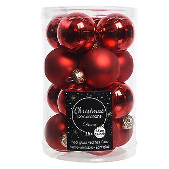 16 3.5cm Red Glass Christmas Tree Bauble Decorations