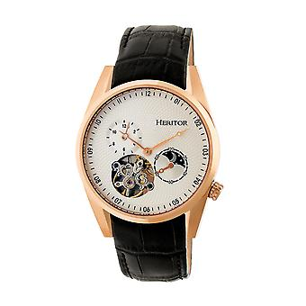 Heritor Automatic Alexander Semi-Skeleton Leather-Band Watch - Rose Gold/White