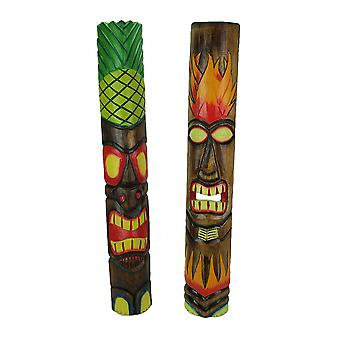 39 inch Tall Hand Crafted Wooden Tiki Totem Wall Mask Set of 2