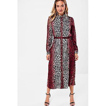 iClothing Tatum Animal Print Shirt Dress In Wine-16