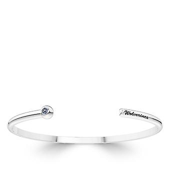 University of Michigan graviert Sterling Silber weiß Saphir Manschette Armband