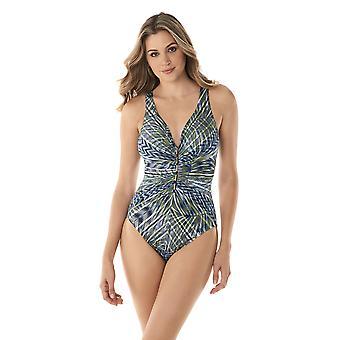 Miraclesuit 6523369-OLT Women's Monteverde Charmer Olivetta Green Floral Shaping Swimsuit