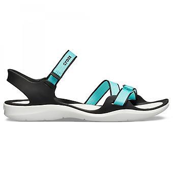 Crocs 204804 Swiftwater Webbing Sandal Ladies Sandals Pool/white