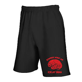 Black tracksuit shorts fun3487 zombies want me for my brain