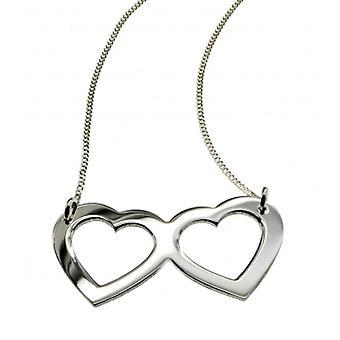 Dubbelt hjärta halsband i 925 silver-45 cm