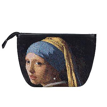 Vermeer - girl with a pearl earring makeup bag by signare tapestry / makeup-art-jv-girl