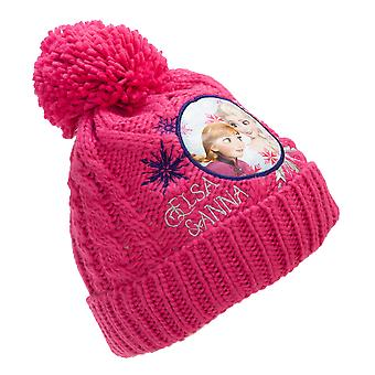 Frozen Childrens/Kids Anna And Elsa Knitted Bobble Hat