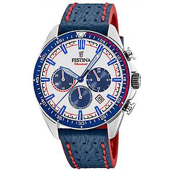 Originale F20377-1 Festina watch - Uhr stahlblauen Armband Leder blau Nähte roten Mann