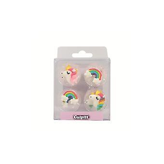 Culpitt Edibile Unicorn & Arcobaleno zucchero pipasiani torta decorazioni Cupcake Toppers Set di 12