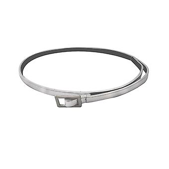 10mm Girls Shiny Silver PU Leather Waist Belt
