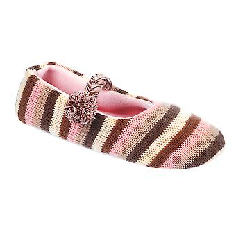 Kumfipumps Womens Dyed Stripe Knitted Mary-Jane Slippers