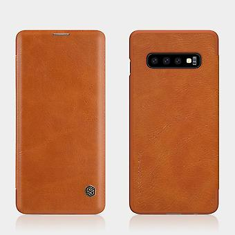 Pour Samsung Galaxy S10 Plus Case, Brown Leather Folio Flip Ultra Slim Cover