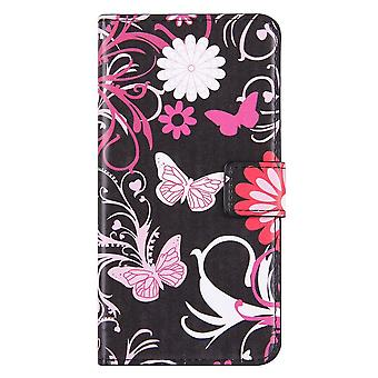 Para iPhone 8 PLUS,7 PLUS Wallet Case, Capa de Couro Borboletas Elegantes, Rosa