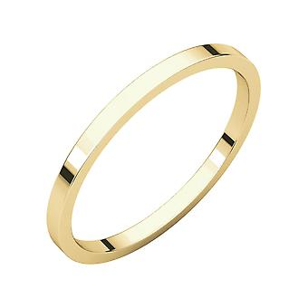 18k Yellow Gold 1.5mm Flat Band Ring  Jewelry Gifts for Women - Ring Size: 4.5 to 7