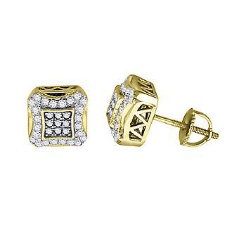 925 Sterling Silver Pánské žlutý tón CZ Cubic Zirconia Simulované Diamond Náměstí Kite Stud náušnice šperky dárky pro muže