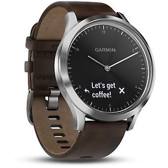 Garmin - Connected Watch - Vivomove HR Premium Black-Silver med læderrem - 010-01850-04