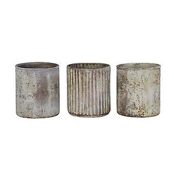Light & Living Tealight 3 Set 7x8cm - Lapas Matted White-Copper Rust