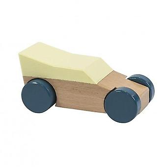 Sebra - wooden racecar - yellow