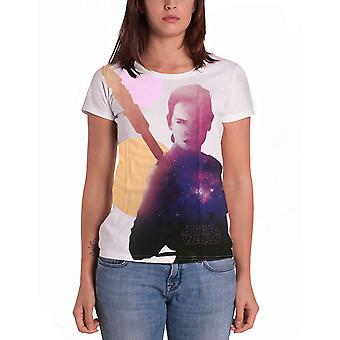 Official Womens White Star Wars T Shirt Rey Rise of Skywalker Skinny Fit Sub Dye