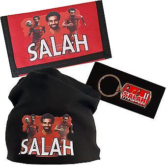 Salah beanie mössa, nyckelring & plånbok paket Liverpool