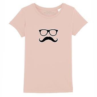 STUFF4 Girl's Round Neck T-Shirt/Hipster Fashion/Moustache Glasses/Coral Pink