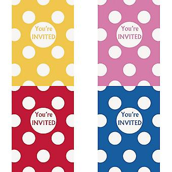 Unique Party Polka Dot Invitations (Pack Of 8)