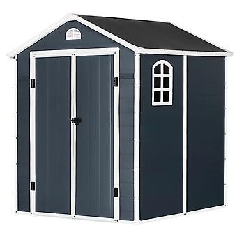 Outsunny 226x190cm Metal Garden Shed Outdoor Storage w/ 2 Doors Latch Air Vent Window Sloped Roof Large Spacious Tools Equipment Patio Grey