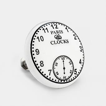 Large Ceramic Door Knob - White / Black - Paris Clock