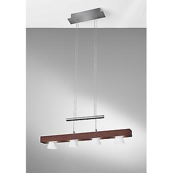 """24"""" X 11"""" X 38-69"""" Walnut Wood LED 4 Light Adjustable Pendant"""