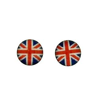 TOC Sterling Silver Round British Flag Stud Earrings 5mm