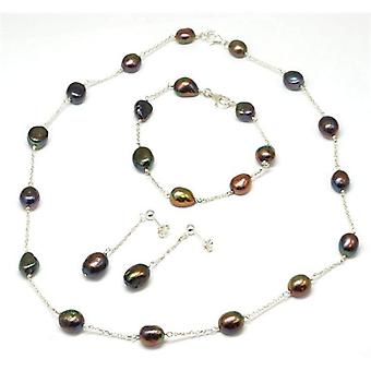 Toc Baroque Freshwater Cultured Dyed Black-Multi Pearl Necklace Bracelet and Earring Set