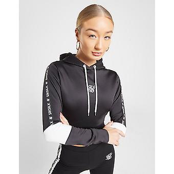 New SikSilk Women's Tape Crop Poly Hoodie Black