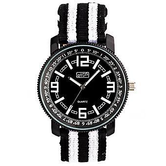 Eton Mens Watch, Blk / Wht Striped Fabric Strap - 3095G-BKWT