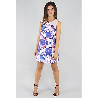 Purple floral print mini dress