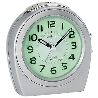 Atlanta 1668/19 Alarm clock quartz analog silver quiet without ticking with light sensor