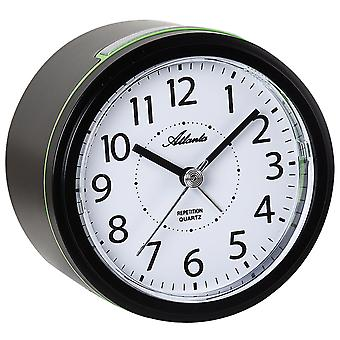 Atlanta 1990/7 Alarm clock quartz analog black quiet without ticking with light snooze