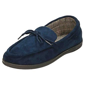 Cushion-Walk Navy Suede Style Moccasin Slippers