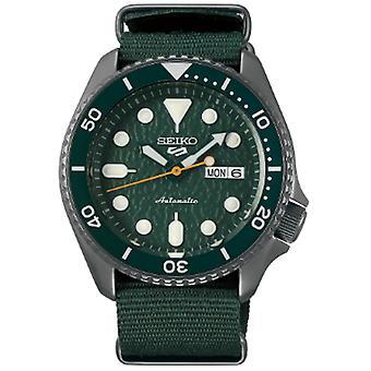 Seiko 5 urheilu ruostumaton teräs kotelo vihreä Kangas hihna automaattiset miehet ' s Watch SRPD77K1