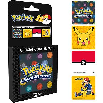 4-Pack Pokemon Official Coaster Pack Coasters