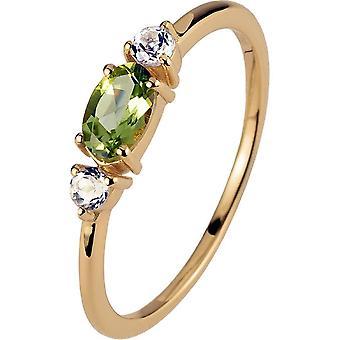 جاك Lemans - خاتم الفضة مطلي بالذهب مع peridot - SE-R113G58 - RW: 58