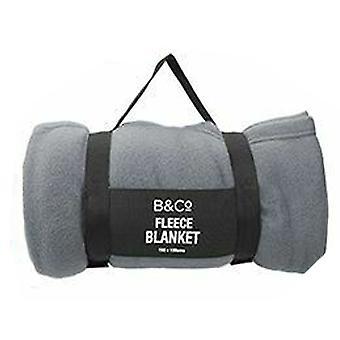 Summit B&Co Fleece Blanket 150x130cm With Carry Handle - 1 Unit Grey Blanket