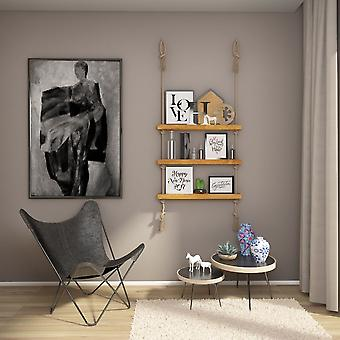 Folayan Holz Farbe Regal, Holz Ecru, Juta, L75xP9xA125 cm