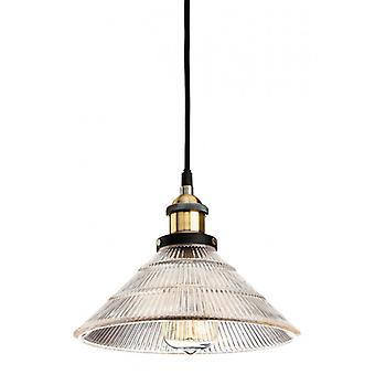 Hanging Lamp 25 Cm Empire, Antique Brass And Glass