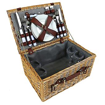 Charles Bentley 4 Person Wicker Picnic Basket Including Cutlery, Plates, Glasses, Napkins, Corkscrew and Salt and Pepper Shakers