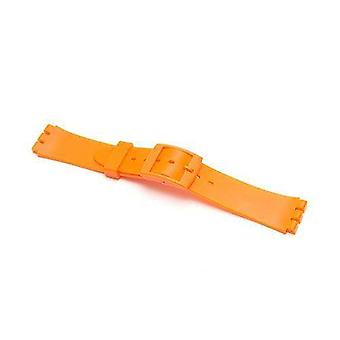Watch strap made by w&cp for swatch resin orange with plastic buckle size 17mm