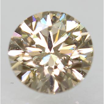 Cert 0.75 Carat Light Brown VVS2 Round Brilliant Natural Diamond 5.78mm EX CUT