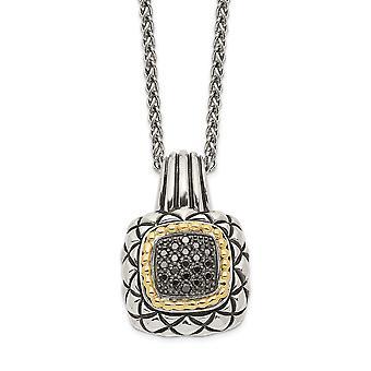 925 sterlinghopeaa 14k 1/5ct. musta timantti kaulakoru korut lahjat naisille - 0,20 dwt