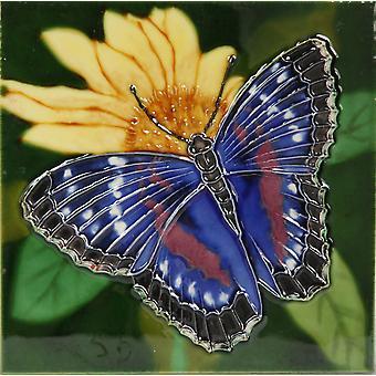 "YH Arts Ceramic Wall Art, Purple Butterfly Design 1 6 x 6"""