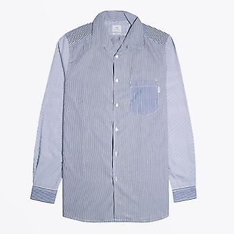 PS Paul Smith  - Casual Fit Stripe Pocket Shirt - Blue/White