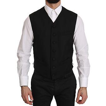 Dolce & Gabbana Black Formal Dress Waistcoat Gillet Vest -- TSH3909232